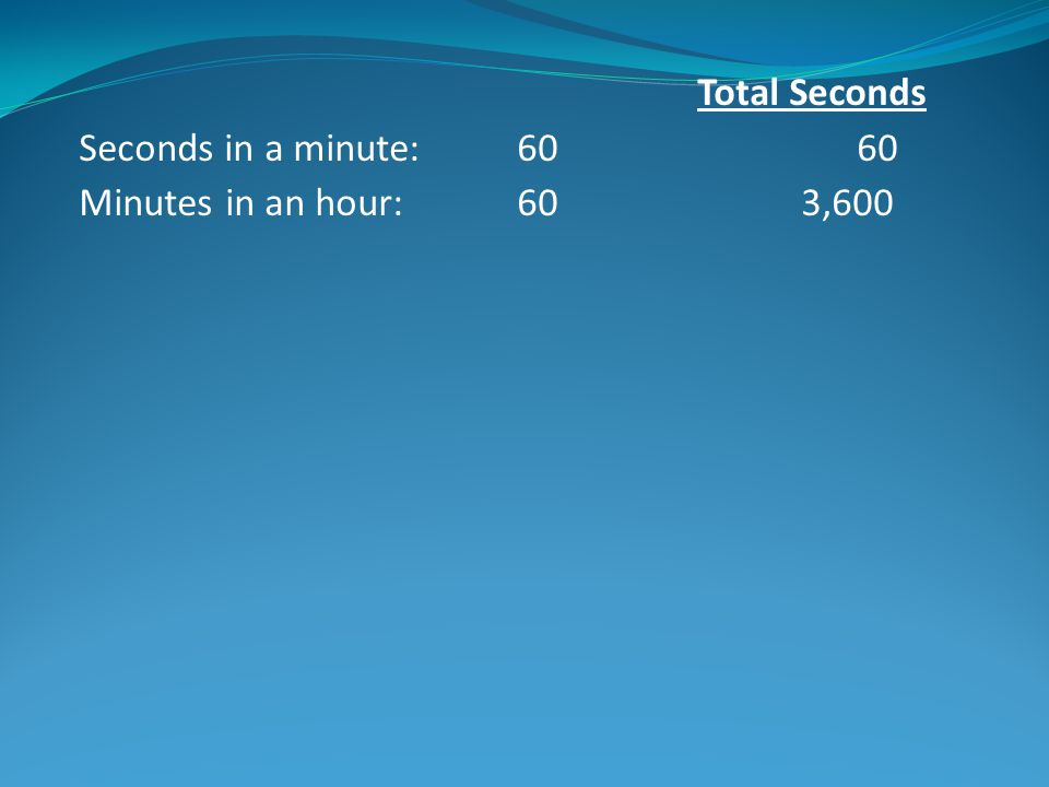 Total Seconds Seconds in a minute: 60 60 Minutes in an hour: 60 3,600 Hours in a day: 24 86,400