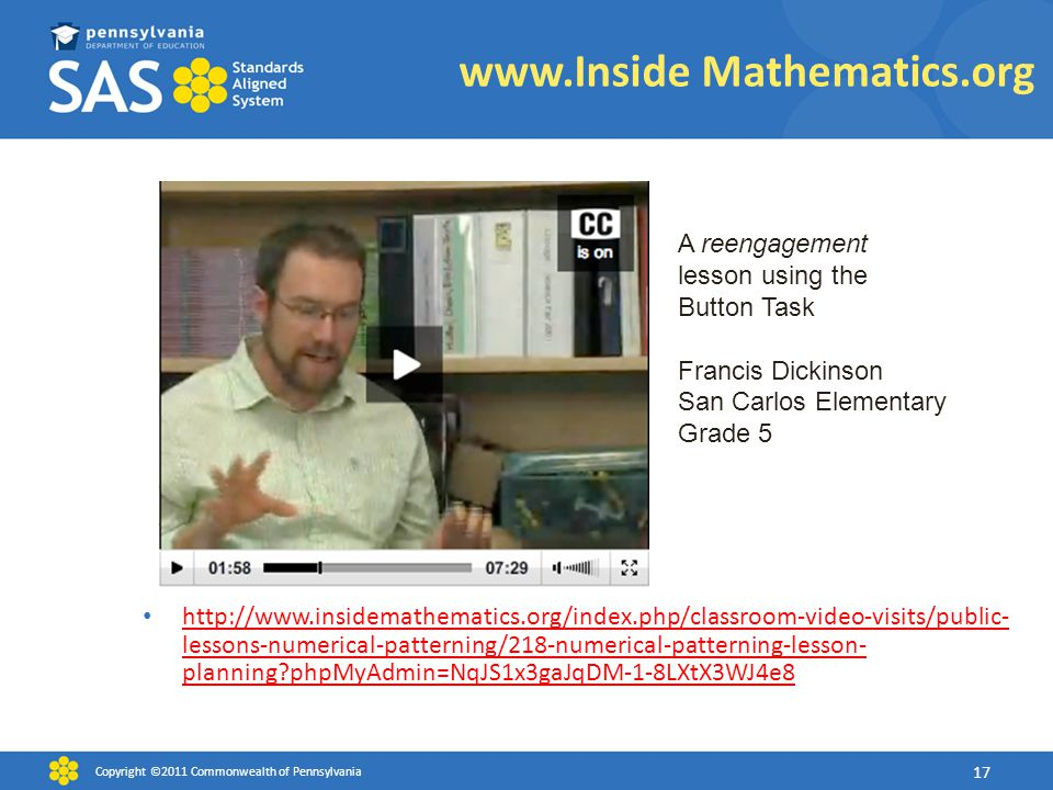 www.Inside Mathematics.org http://www.insidemathematics.org/index.php/classroom-video-visits/public- lessons-numerical-patterning/218-numerical-patter