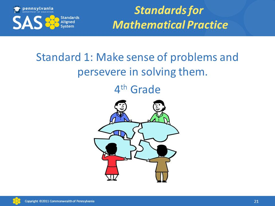Standard 1: Make sense of problems and persevere in solving them. 4 th Grade Standards for Mathematical Practice Copyright ©2011 Commonwealth of Penns