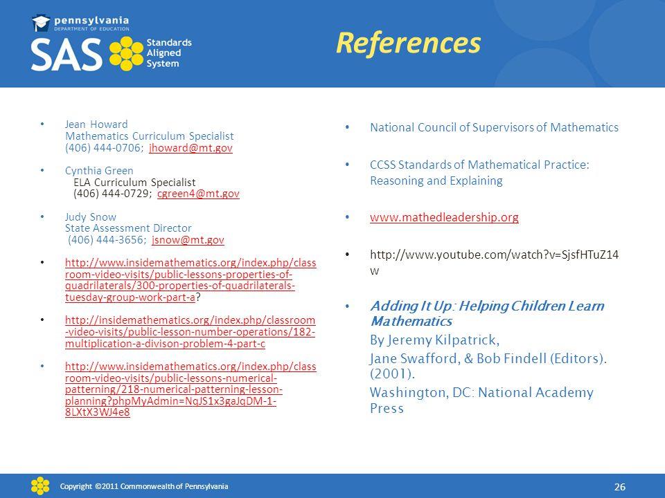 Jean Howard Mathematics Curriculum Specialist (406) 444-0706; jhoward@mt.govjhoward@mt.gov Cynthia Green ELA Curriculum Specialist (406) 444-0729; cgr