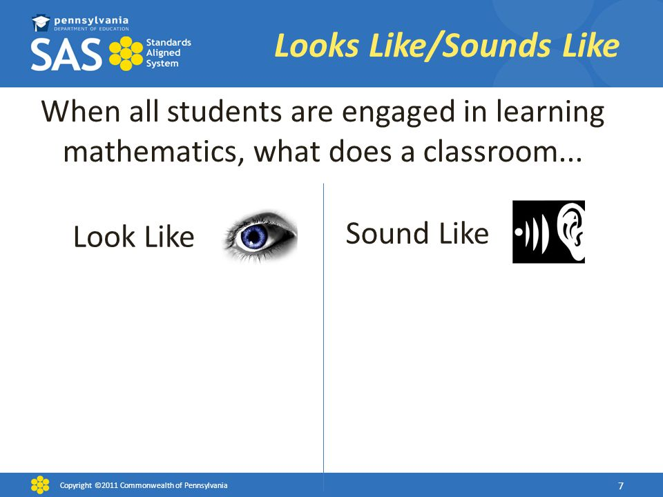 When all students are engaged in learning mathematics, what does a classroom... Look Like Sound Like Looks Like/Sounds Like Copyright ©2011 Commonweal