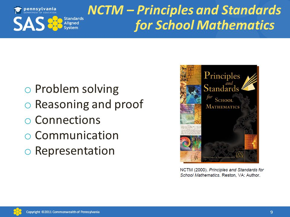 o Problem solving o Reasoning and proof o Connections o Communication o Representation NCTM – Principles and Standards for School Mathematics Copyrigh