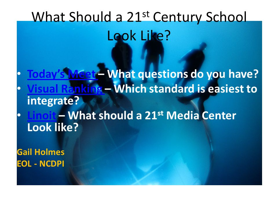 What Should a 21 st Century School Look Like. Today's Meet – What questions do you have.