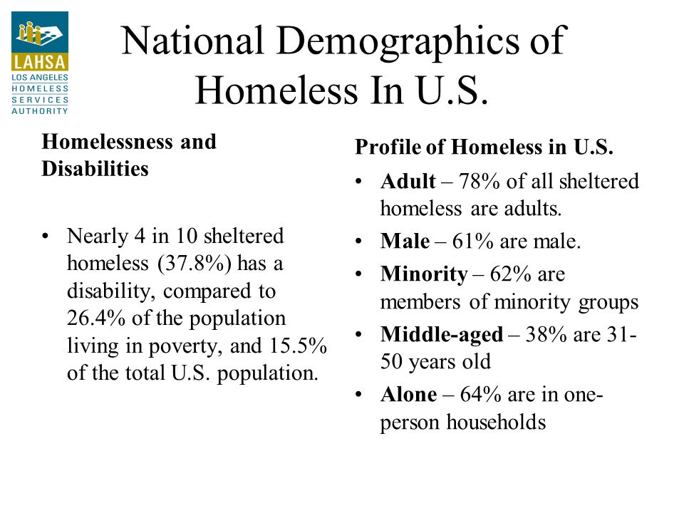 National Demographics of Homeless In U.S.