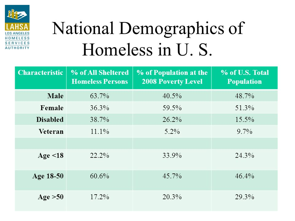 National Demographics of Homeless in U. S.