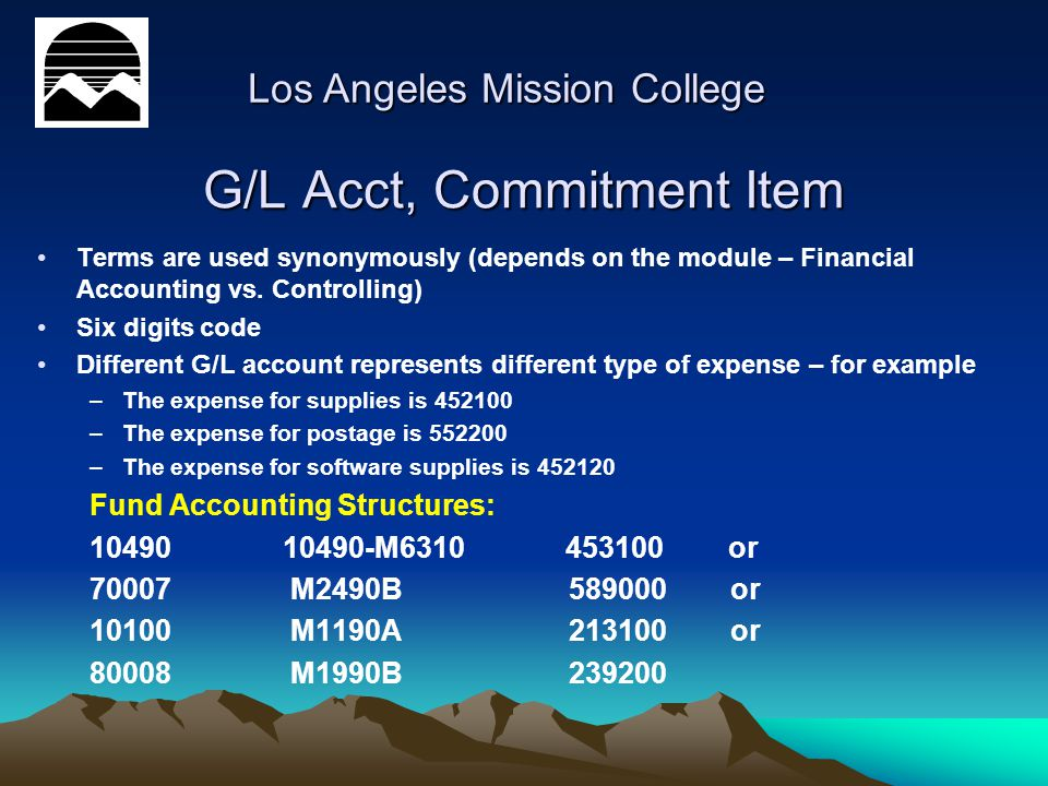 G/L Acct, Commitment Item Terms are used synonymously (depends on the module – Financial Accounting vs.