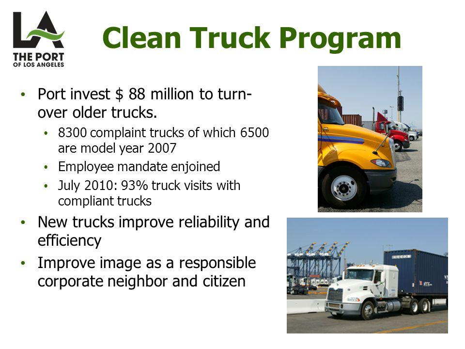 Clean Truck Program Port invest $ 88 million to turn- over older trucks. 8300 complaint trucks of which 6500 are model year 2007 Employee mandate enjo