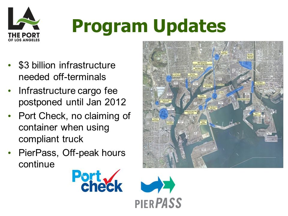 Program Updates $3 billion infrastructure needed off-terminals Infrastructure cargo fee postponed until Jan 2012 Port Check, no claiming of container when using compliant truck PierPass, Off-peak hours continue