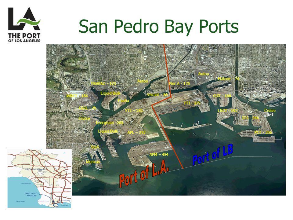 APM – 484 APL – 292 Evergreen -205 YTI – 185 Vacant - 84 CSCL - 75 WBCT - 186 TRAPAC - 173 TTI - 375 Pier A - 170 Matson - 70 CUT - 108 LBCT - 102 ITS - 246 PCT - 256 Cruise Autos Marinas Liquid Bulk Pasha SSA Autos San Pedro Bay Ports
