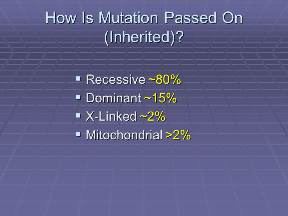 How Is Mutation Passed On (Inherited).