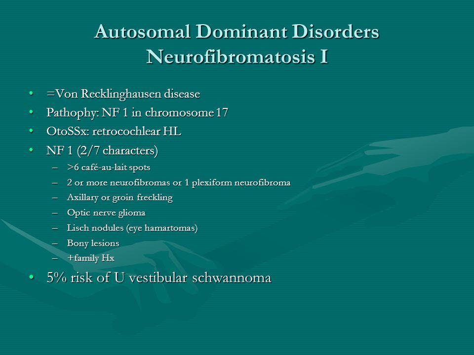 Autosomal Dominant Disorders Neurofibromatosis I =Von Recklinghausen disease=Von Recklinghausen disease Pathophy: NF 1 in chromosome 17Pathophy: NF 1