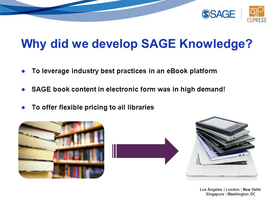 Los Angeles | London | New Delhi Singapore | Washington DC Why did we develop SAGE Knowledge.