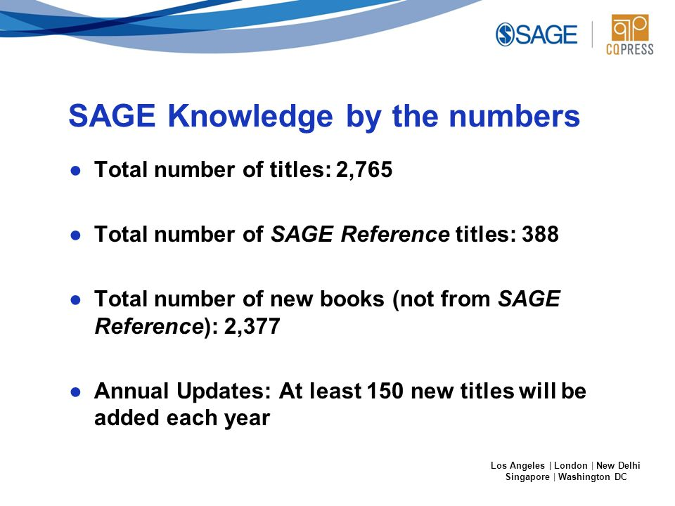 Los Angeles | London | New Delhi Singapore | Washington DC SAGE Knowledge by the numbers ●Total number of titles: 2,765 ●Total number of SAGE Reference titles: 388 ●Total number of new books (not from SAGE Reference): 2,377 ●Annual Updates: At least 150 new titles will be added each year