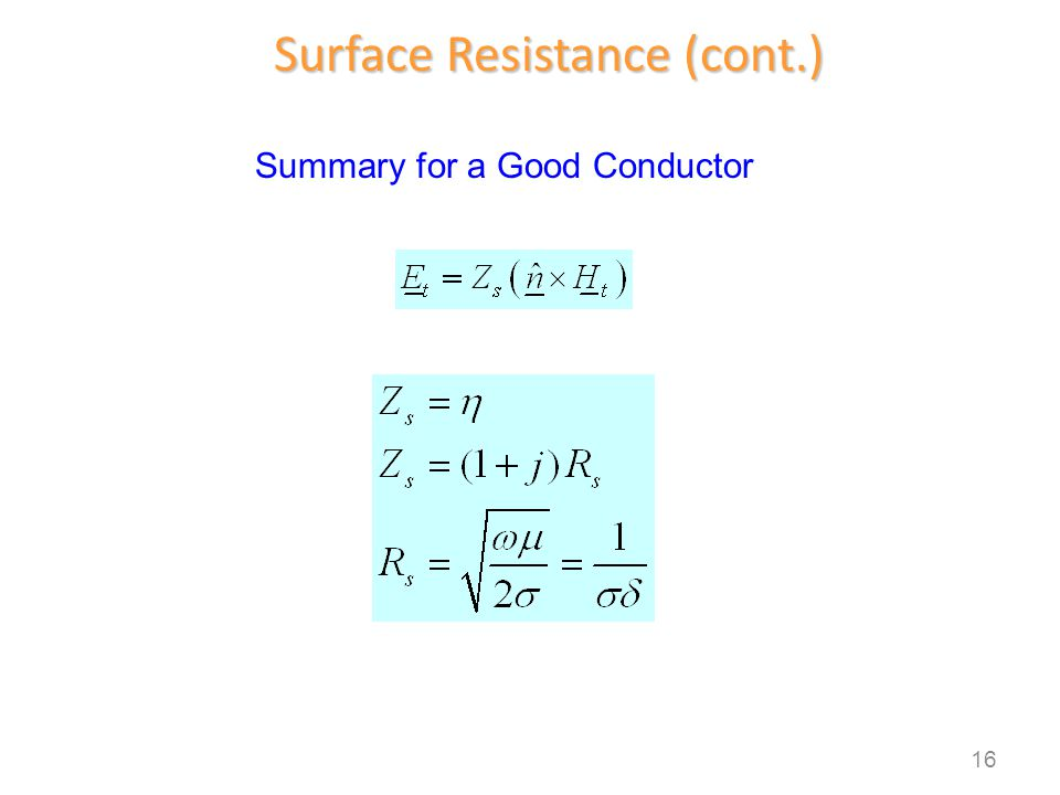 Surface Resistance (cont.) Summary for a Good Conductor 16