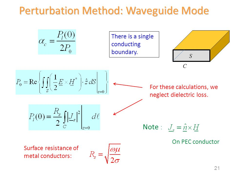 There is a single conducting boundary. Surface resistance of metal conductors: Note : On PEC conductor Perturbation Method: Waveguide Mode C S 21 For