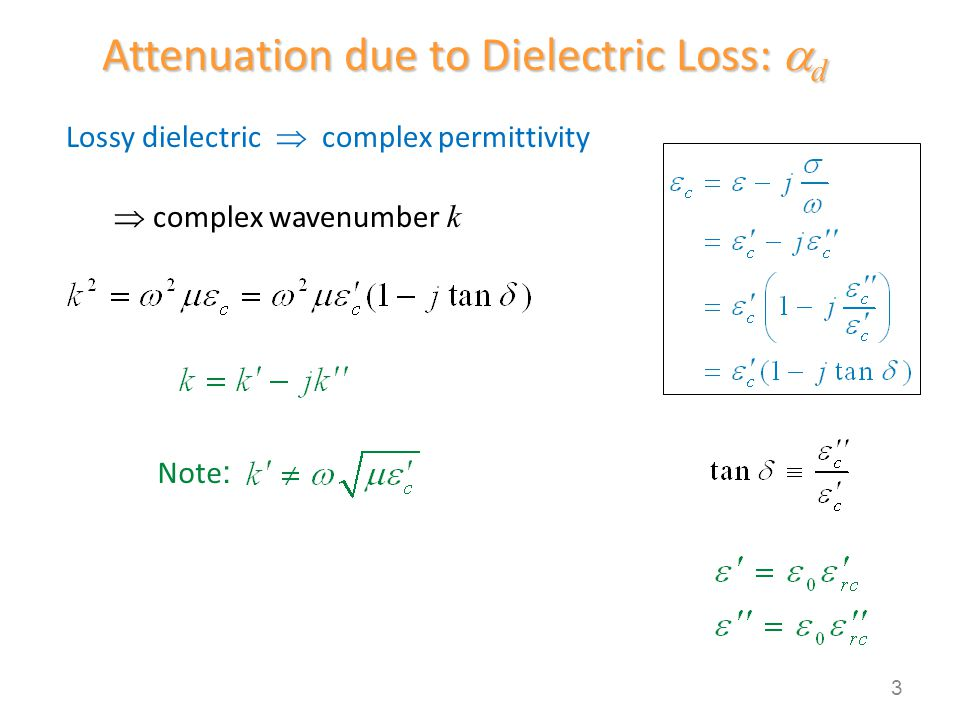 Thus Attenuation due to Dielectric Loss (cont.) Remember: The value k c is always real, regardless of whether the waveguide filling material is lossy or not.