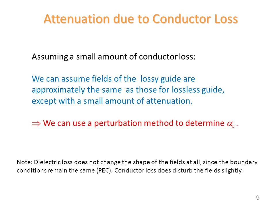 Perturbation Method for  c Power flow along the guide: Power @ z = 0 is calculated from the lossless case.