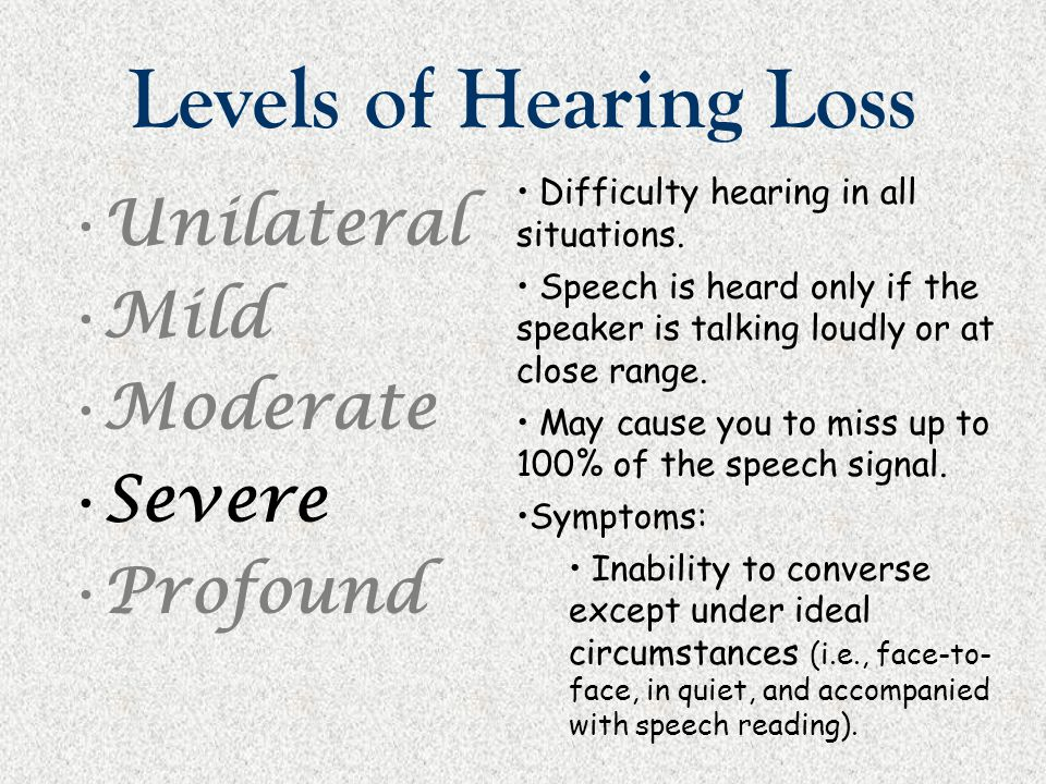 Levels of Hearing Loss Unilateral Mild Moderate Severe Profound Difficulty hearing in all situations. Speech is heard only if the speaker is talking l