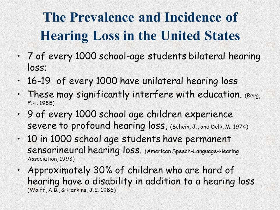 Levels of Hearing Loss Unilateral Mild Moderate Severe Profound Difficulty hearing in all situations.