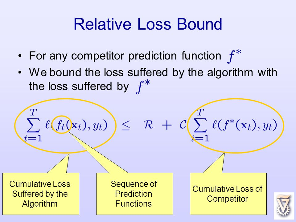 12 For any competitor prediction function We bound the loss suffered by the algorithm with the loss suffered by Relative Loss Bound Cumulative Loss Suffered by the Algorithm Sequence of Prediction Functions Cumulative Loss of Competitor
