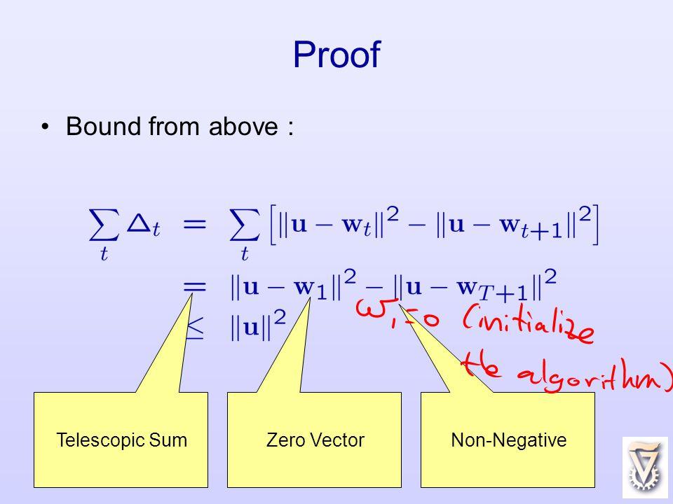 22 Proof Bound from above : Telescopic Sum Non-Negative Zero Vector