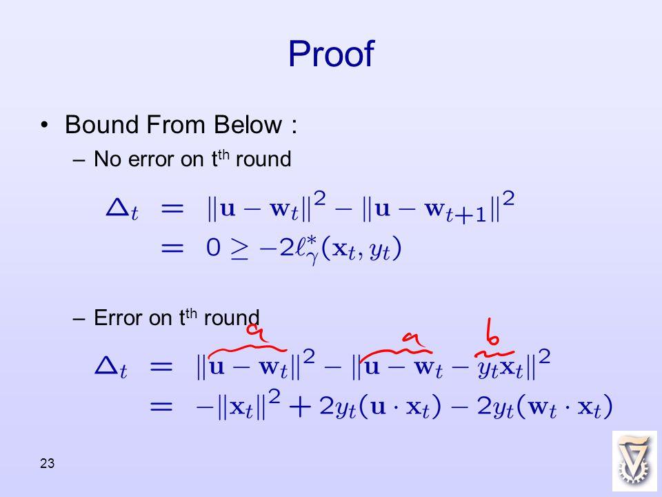 23 Proof Bound From Below : –No error on t th round –Error on t th round