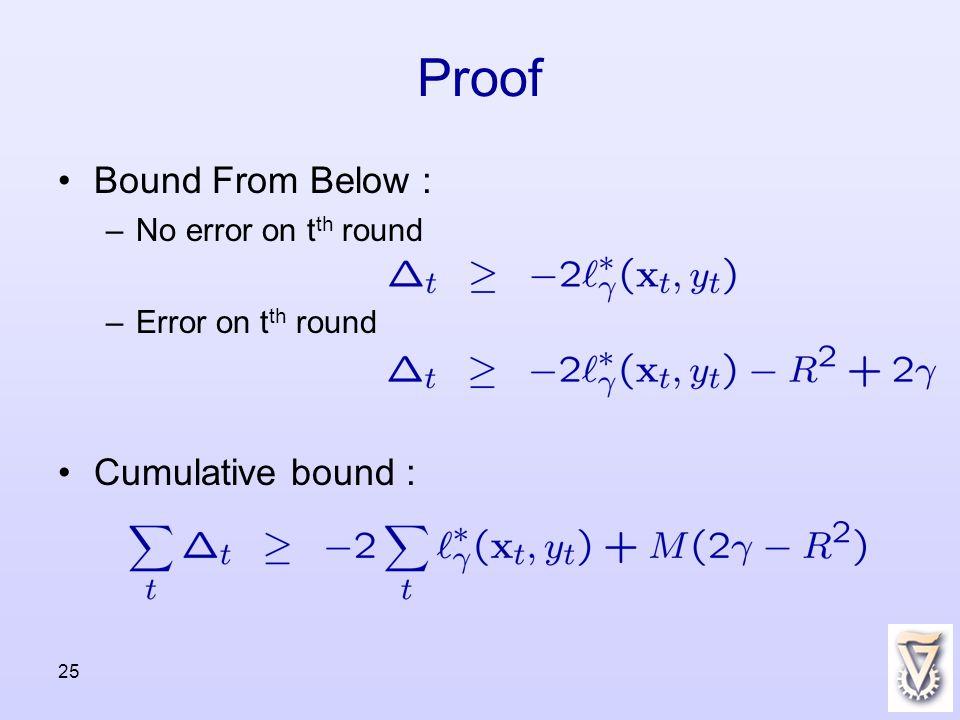 25 Proof Bound From Below : –No error on t th round –Error on t th round Cumulative bound :