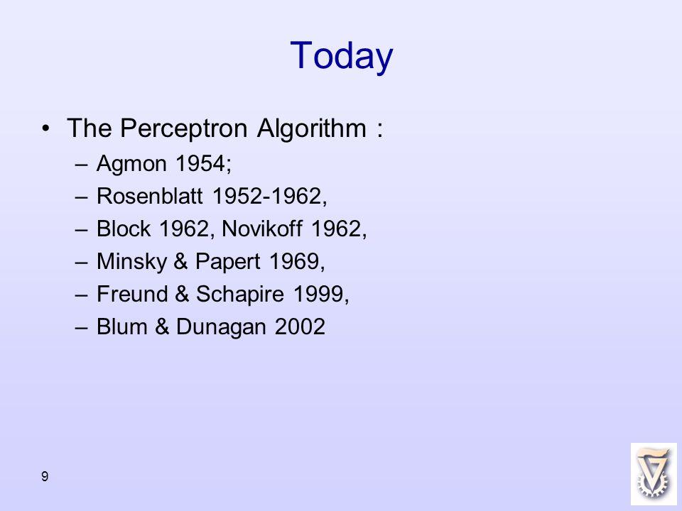 9 Today The Perceptron Algorithm : –Agmon 1954; –Rosenblatt 1952-1962, –Block 1962, Novikoff 1962, –Minsky & Papert 1969, –Freund & Schapire 1999, –Blum & Dunagan 2002