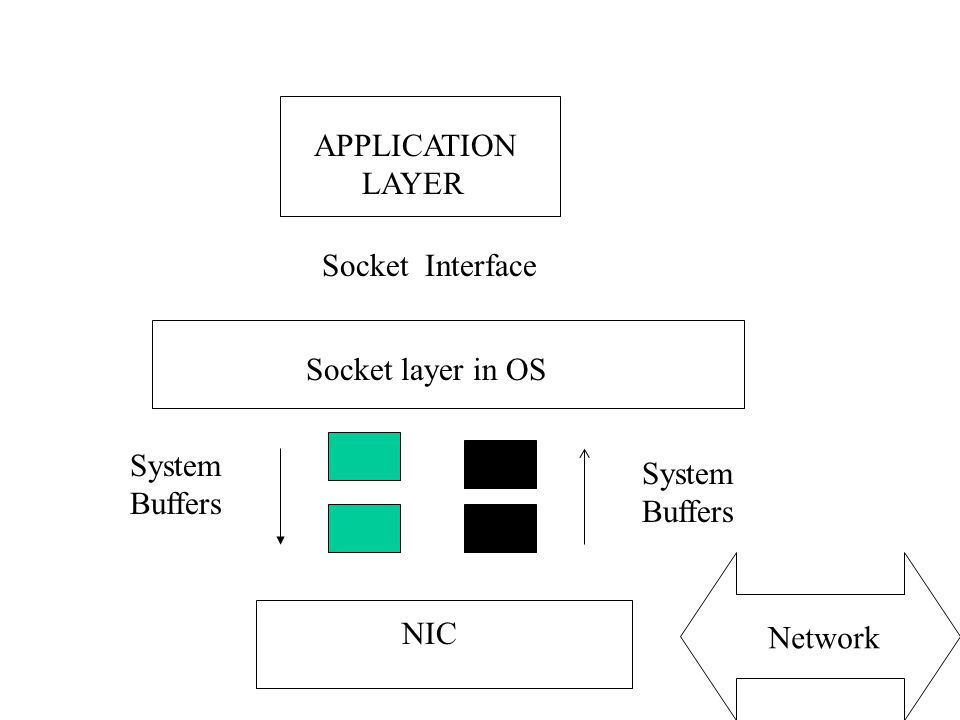 APPLICATION LAYER Socket Interface Socket layer in OS NIC Network System Buffers System Buffers