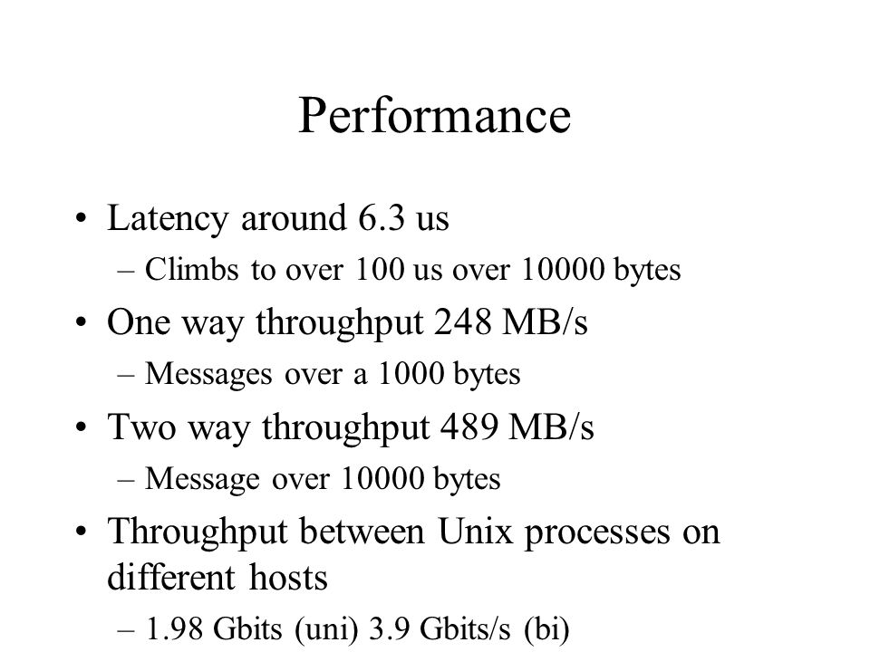 Performance Latency around 6.3 us –Climbs to over 100 us over 10000 bytes One way throughput 248 MB/s –Messages over a 1000 bytes Two way throughput 4