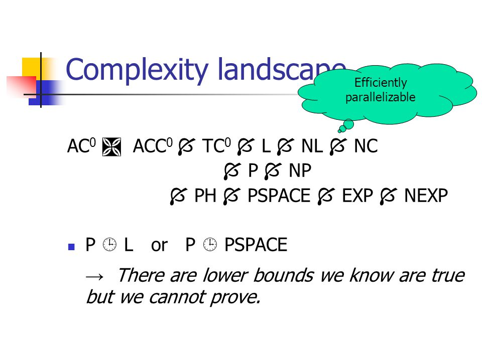 Complexity landscape AC 0  ACC 0  TC 0  L  NL  NC  P  NP  PH  PSPACE  EXP  NEXP P  L or P  PSPACE → There are lower bounds we know are true but we cannot prove.