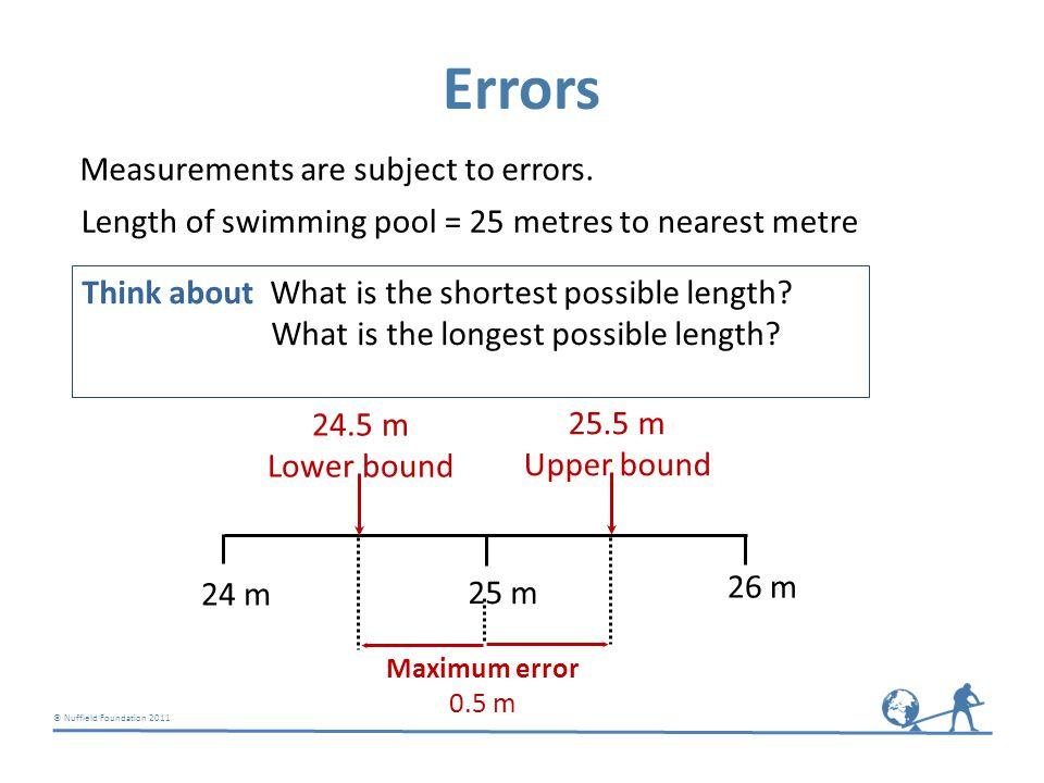 © Nuffield Foundation 2011 56 m 83 m 24 m 45 m Car park Perimeter Total area Best estimate = 8248 m 2 Best estimate = 416 m Lower bound = 412 m Upper bound = 420 m Lower bound = 8094.25 m 2 Upper bound = 8403.25 m 2 Perimeter = 420 m (to 2 sf) Total area = 8200 m 2 (to 2 sf) Think about What final answers should be given?