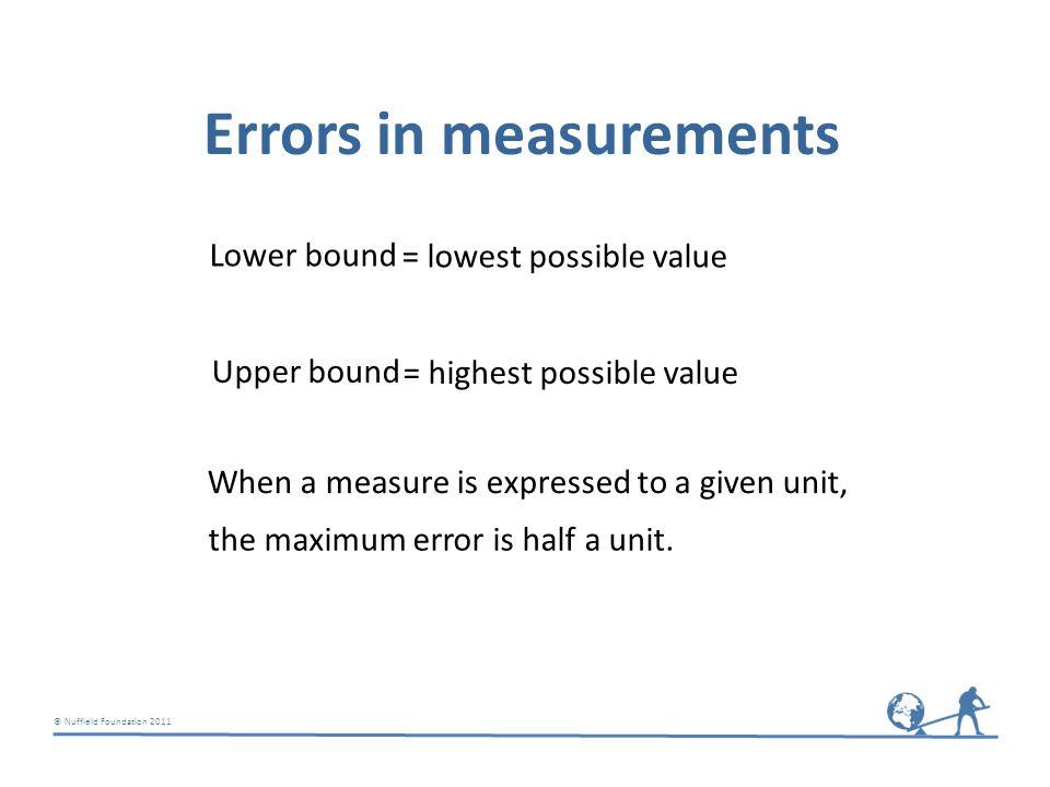 © Nuffield Foundation 2011 Errors in measurements Nearest 100 50 Accuracy Maximum error Nearest 10 5 Nearest whole number 0.5 To 1 decimal place 0.05 (nearest 0.1) To 2 decimal places 0.005 (nearest 0.01) Think about What is the maximum error?