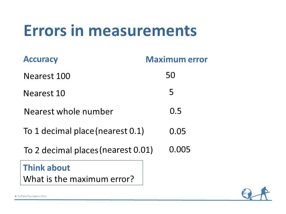 © Nuffield Foundation 2011 Errors in measurements Nearest 100 50 Accuracy Maximum error Nearest 10 5 Nearest whole number 0.5 To 1 decimal place 0.05 (nearest 0.1) To 2 decimal places 0.005 (nearest 0.01) Think about What is the maximum error