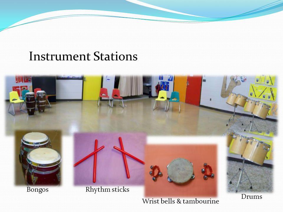 Instrument Stations BongosRhythm sticks Wrist bells & tambourine Drums