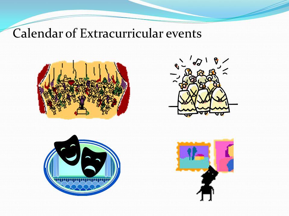 Calendar of Extracurricular events