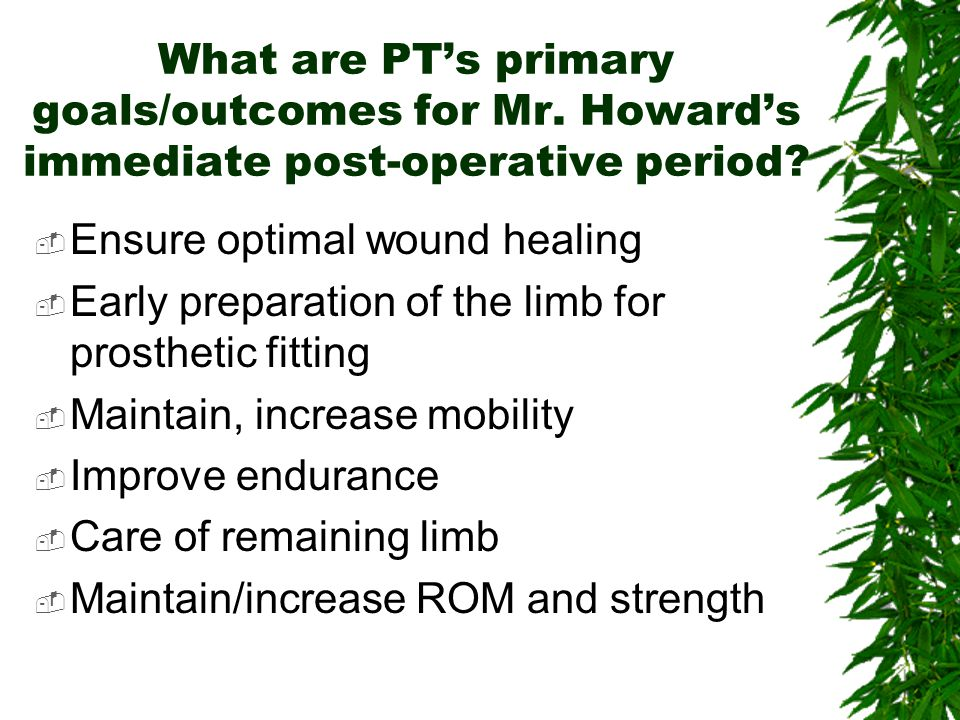 What should be included in the early post-op care for Mr. Howard?  ROM, positioning, skin care, edema control, isometrics, strengthening of UE's/resi