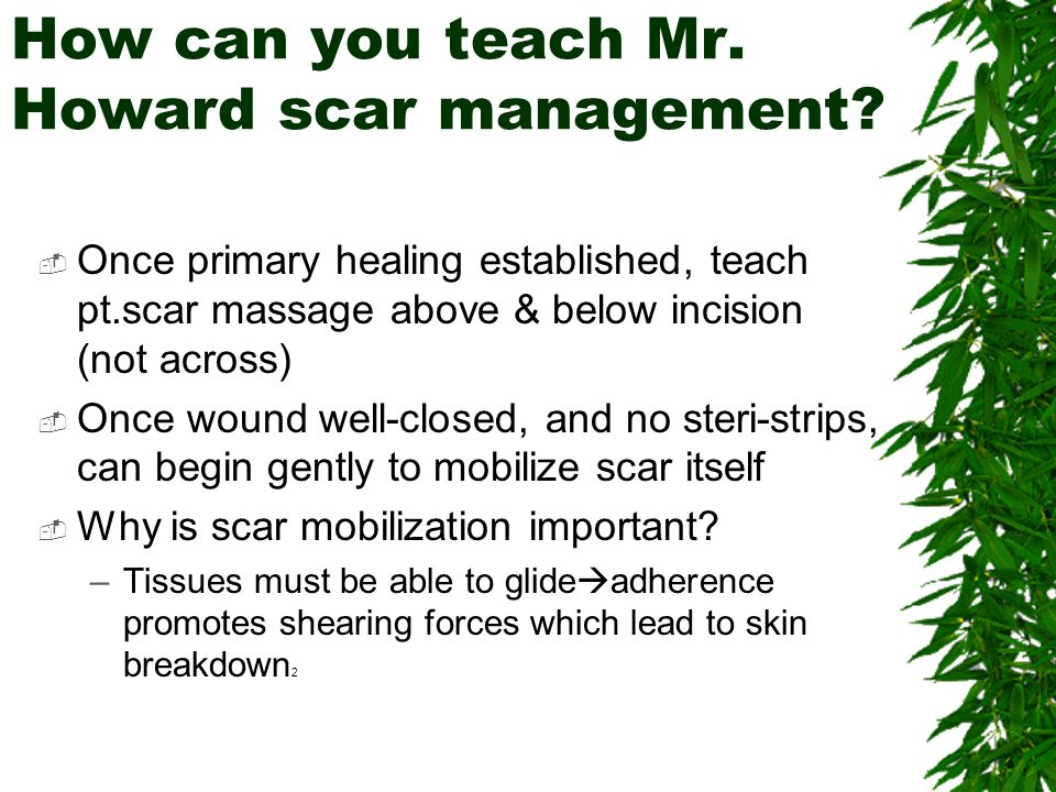 How should PT inspect Mr. Howard's wound?  Monitor residual limb for shape, incision healing/closure, length, sensory integrity, volume, tissue integ