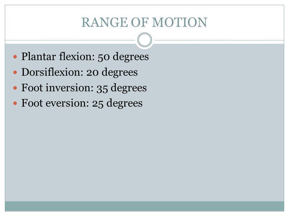 RANGE OF MOTION Plantar flexion: 50 degrees Dorsiflexion: 20 degrees Foot inversion: 35 degrees Foot eversion: 25 degrees