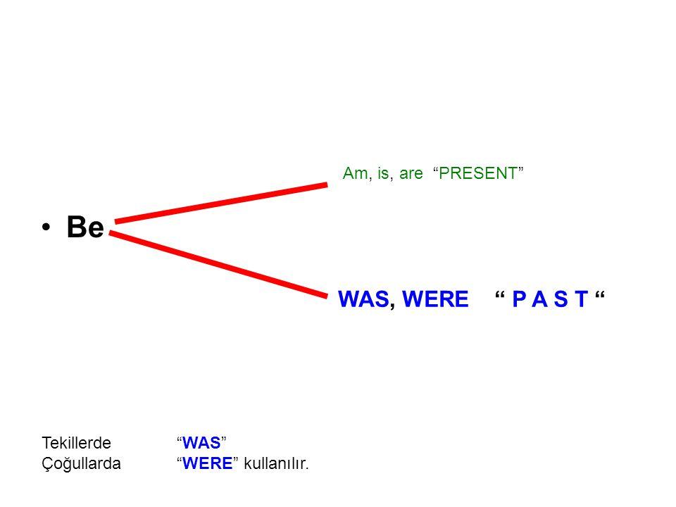 Be Am, is, are PRESENT WAS, WERE P A S T Tekillerde WAS Çoğullarda WERE kullanılır.