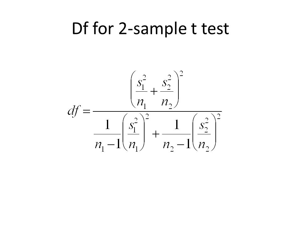 Two-sample Test (independent): Summary Null hypothesis: H 0 : μ 1 – μ 2 = Δ Test statistic: Note: If we are determining if the two populations are equal, then Δ = 0 Alternative Hypothesis P-Value Upper-tailedH a : μ 1 – μ 2 > ΔP(T ≥ t) Lower-tailedH a : μ 1 – μ 2 < ΔP(T ≤ t) two-sidedH a : μ 1 – μ 2 ≠ Δ2P(T ≥ |t|)