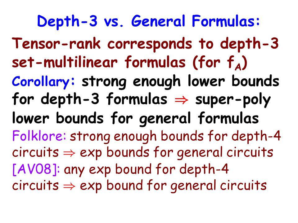 Depth-3 vs. General Formulas: Tensor-rank corresponds to depth-3 set-multilinear formulas (for f A ) Corollary : strong enough lower bounds for depth-