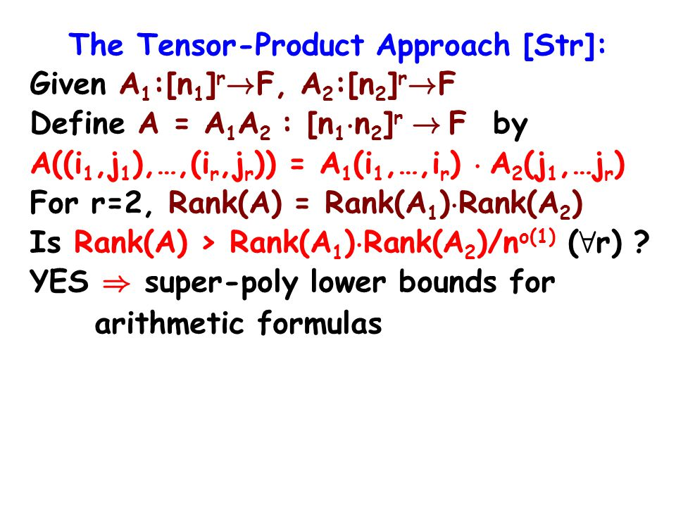 The Tensor-Product Approach [Str]: Given A 1 :[n 1 ] r .