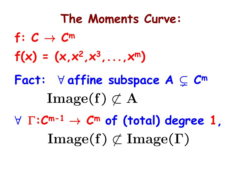 The Moments Curve: f: C .