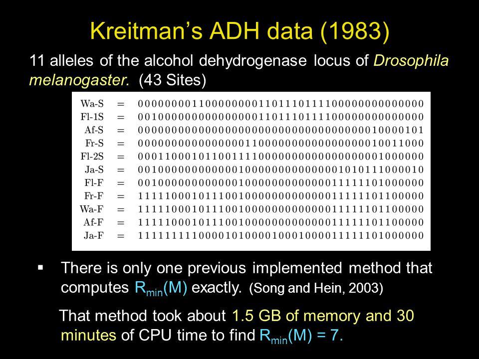 Kreitman's ADH data (1983) 11 alleles of the alcohol dehydrogenase locus of Drosophila melanogaster.