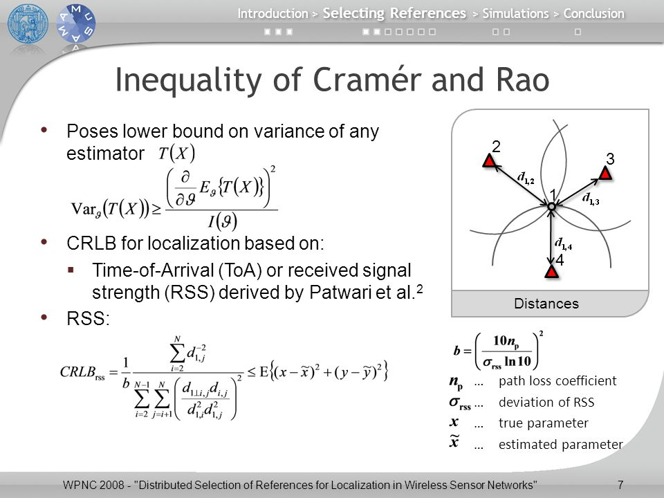 Inequality of Cramér and Rao Poses lower bound on variance of any estimator CRLB for localization based on:  Time-of-Arrival (ToA) or received signal strength (RSS) derived by Patwari et al.
