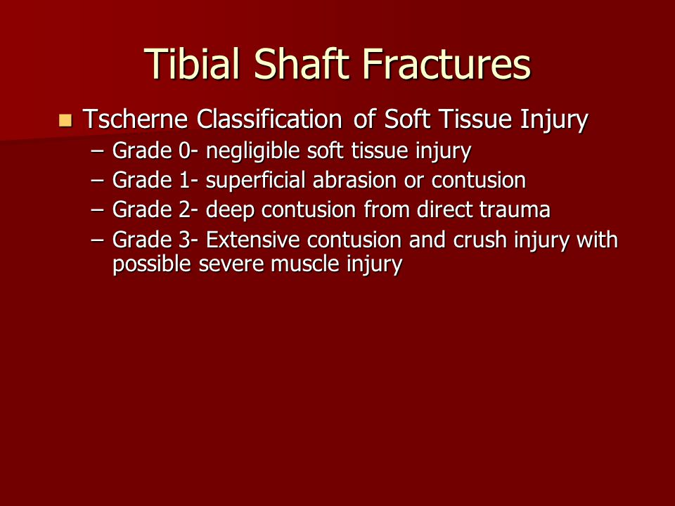 Tibial Shaft Fractures Tscherne Classification of Soft Tissue Injury Tscherne Classification of Soft Tissue Injury –Grade 0- negligible soft tissue in