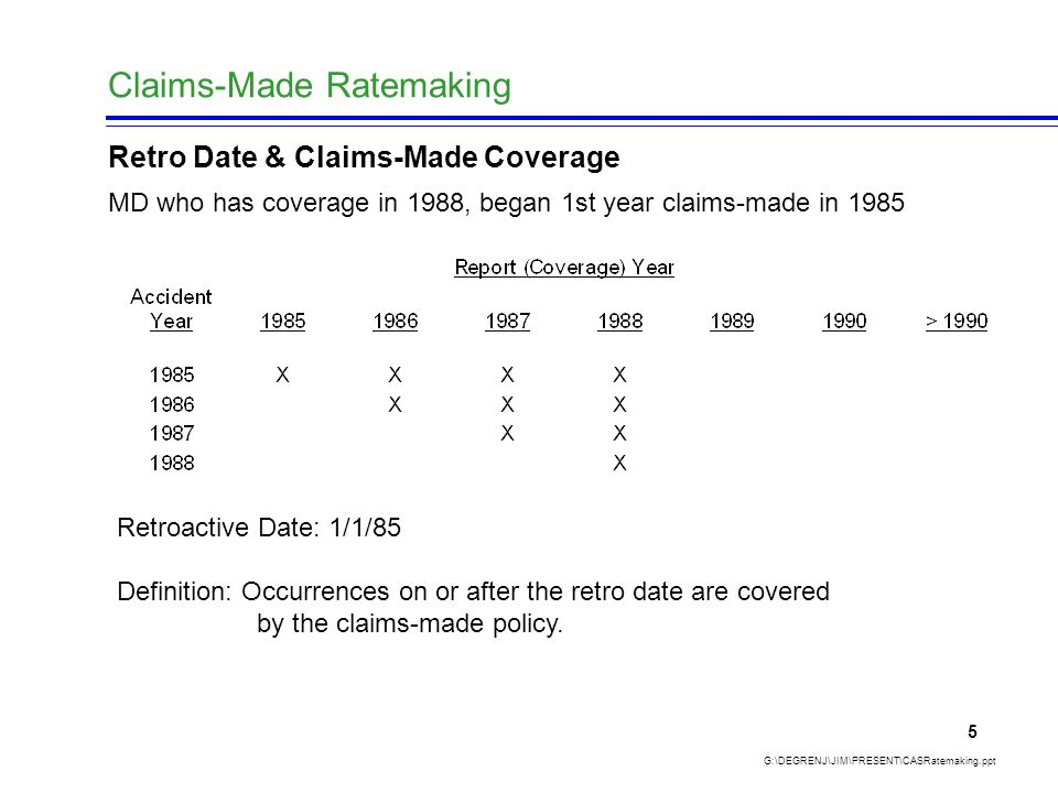 Claims-Made Ratemaking G:\DEGRENJ\JIM\PRESENT\CASRatemaking.ppt 5 Retro Date & Claims-Made Coverage MD who has coverage in 1988, began 1st year claims-made in 1985 Retroactive Date: 1/1/85 Definition: Occurrences on or after the retro date are covered by the claims-made policy.