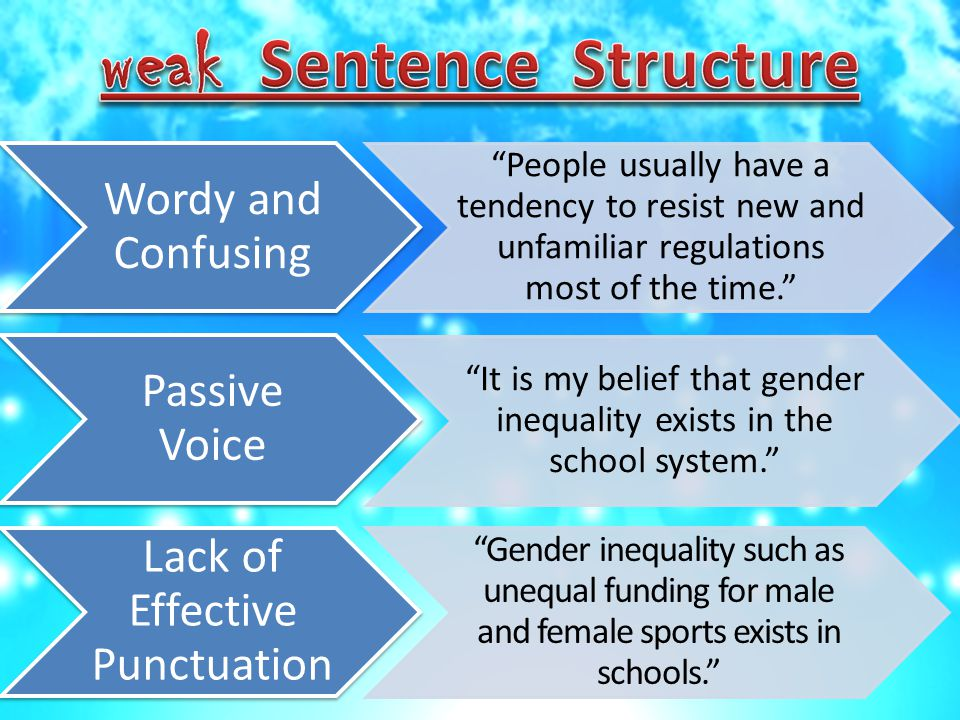 Wordy and Confusing People usually have a tendency to resist new and unfamiliar regulations most of the time. Passive Voice It is my belief that gender inequality exists in the school system. Lack of Effective Punctuation Gender inequality such as unequal funding for male and female sports exists in schools.