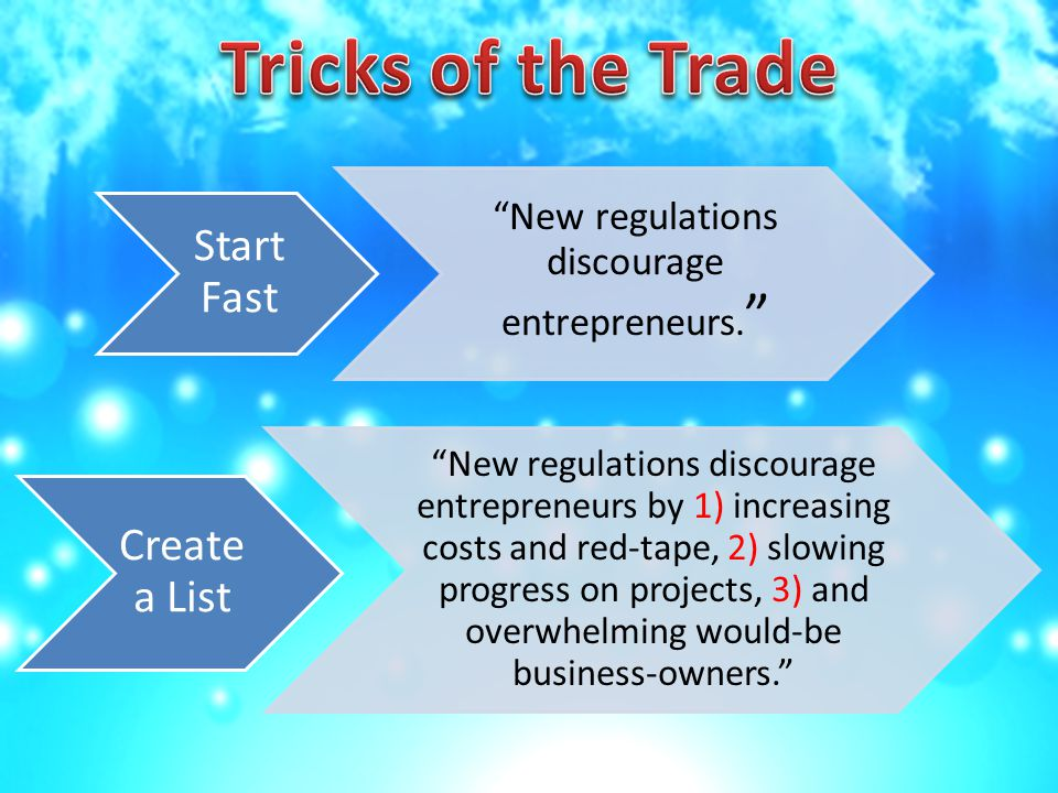 Create a List New regulations discourage entrepreneurs by 1) increasing costs and red-tape, 2) slowing progress on projects, 3) and overwhelming would-be business-owners. Start Fast New regulations discourage entrepreneurs.